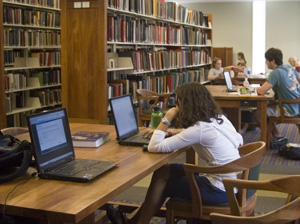 library with laptops
